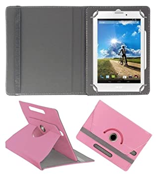 Acm Rotating Leather Flip Case Compatible with Acer Iconia A1 713hd Cover Stand Light Pink Tablet Accessories