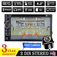 2 Din Car Stereo With Backup Camera / Car Rear View Reverse Camera - Bluetooth / 6.2 Inch HD Touch Screen / DVD Player / Radio / FM / AM Receiver Head Unit For Toyota FJ Cruiser / Highlander