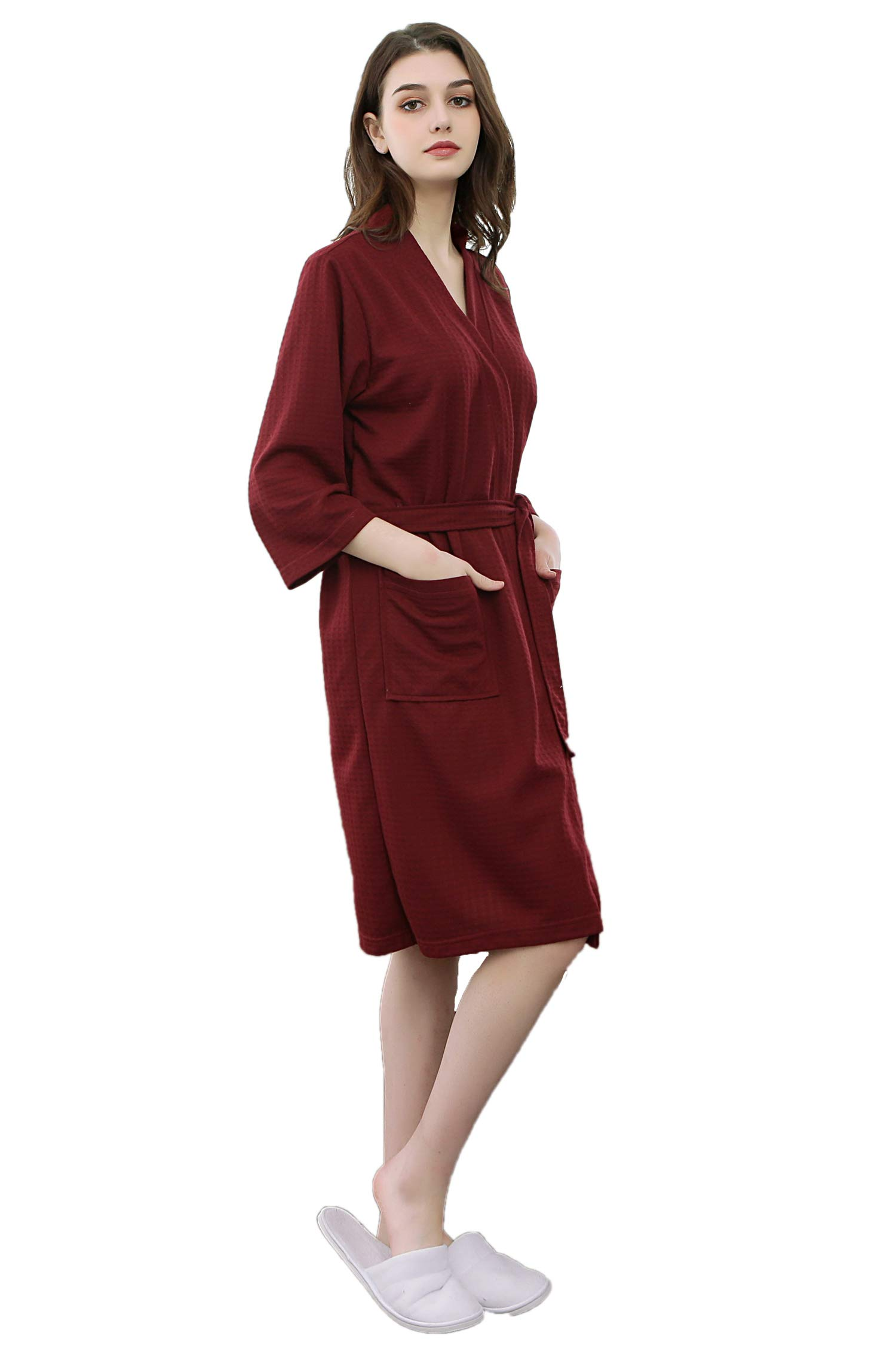 Cahayi Soft Waffle Men Women Bathrobe Autumn Long Robe Sleepwear Pajamas Kimono
