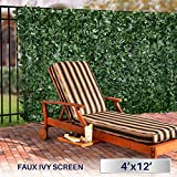 Windscreen4less Artificial Faux Ivy Leaf Decorative Fence Screen 4′ x 12′ Ivy Leaf Decorative Fence Screen