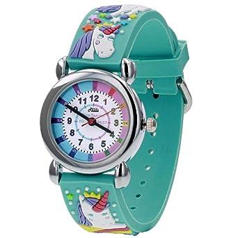Relda Time Teacher - Reloj con Correa de Silicona, diseño de Unicornio en 3D: Amazon.es: Relojes