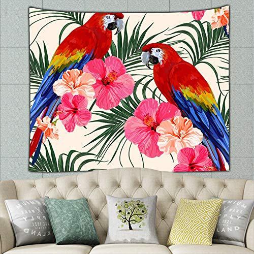 zuo chunhong5 Beautiful Floral Summer Parrot Vintage Parrot Vintage Tapestry Bohemian Tapestry Hippie Tapestry Bedroom Living Room Dorm Art Wall Hanging 50ʺ × 60ʺ ()