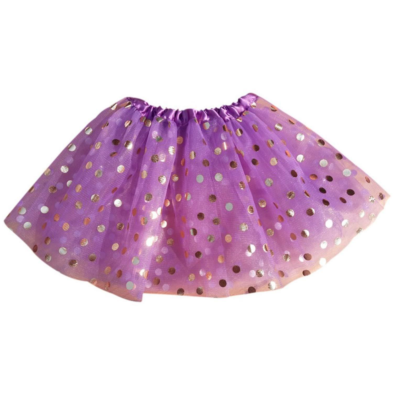 Kids Girls Dot Glitter Dance Tutu Skirt Sequin with 3 Layers Tulle Toddler Girl Chiffon Pettiskirt 1-5Y