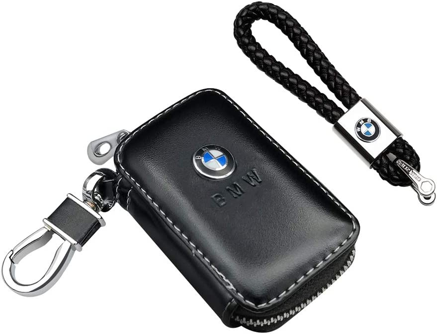 VILLSION 2Pack Genuine PU Leather Car Key Case Holder with Car Key Chain Leather Keychain Gift for Man Women