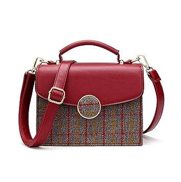 GKKXUE Bolso Cuadrado de la Tela Escocesa de Las Mujeres de la Manera Bolso de Hombro Diagonal Portátil de Temperament Enviar la Cartera (Color : Rojo): ...