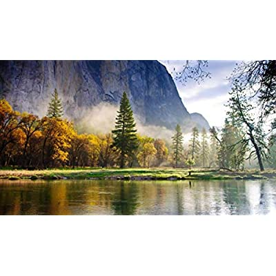 Adult 1000 Piece Jigsaw Puzzle Autumn Nature Mountains Forest Lake Landscape DIY Kit Wooden Puzzle Modern Home Decor Boys Girls Unique Gift Stress Reliever: Toys & Games