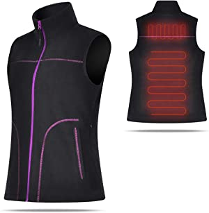 Lychee Women's Lightweight Heated Vest Fashion Electric Warm Waistcoat Vest with USB Battery Pack