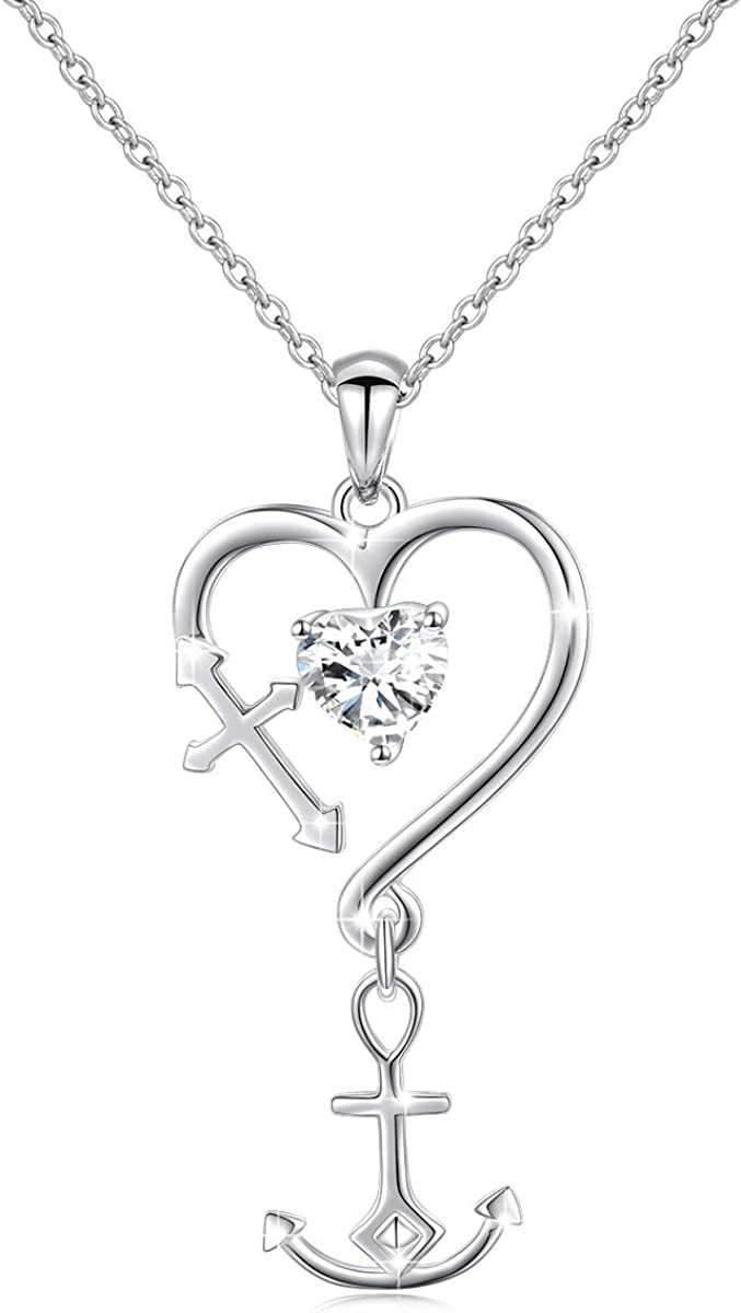S925 Sterling Silver Faith Hope Love Heart Cross Anchor Vintage Pendant Necklace Ring Jewelry Set