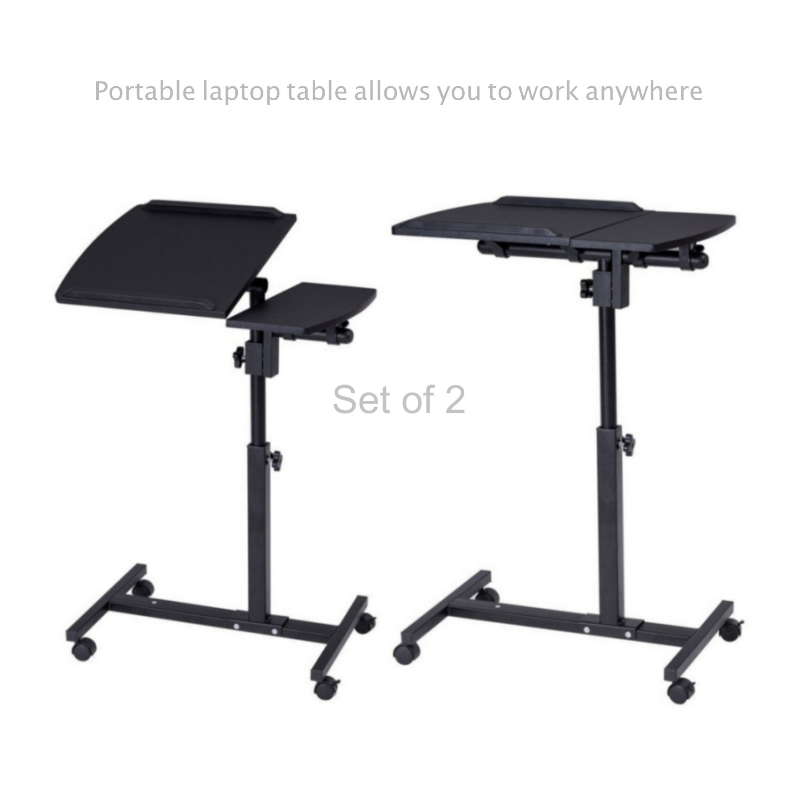 Laptop Notebook Smartphone Table Stand Portable Rolling Cart Height Adjustable Living Room Tray School Home Office Furniture - Set of 2 Black #1822(2)