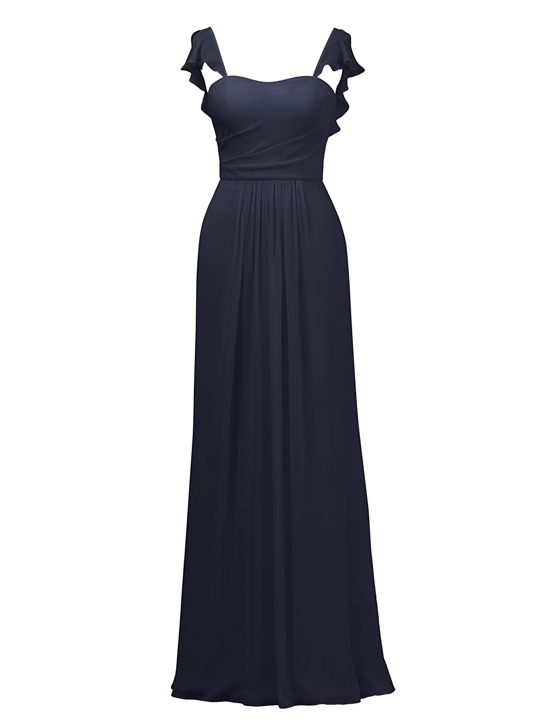 Dark Navy Alicepub Ruffles Bridesmaid Dress with Cap Sleeve Formal Evening Party Prom Gown
