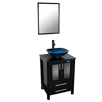 Eclife 24u0027u0027 Modern Bathroom Vanity And Sink Combo Stand Cabinet And Square  Blue Glass