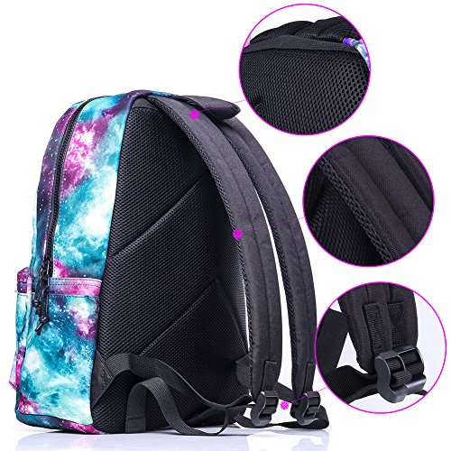 School Backpack,Cool Unisex Canvas Backpack Anime Luminous Backpack Daypack Shoulder School Bag Laptop Bag Verde Galaxia