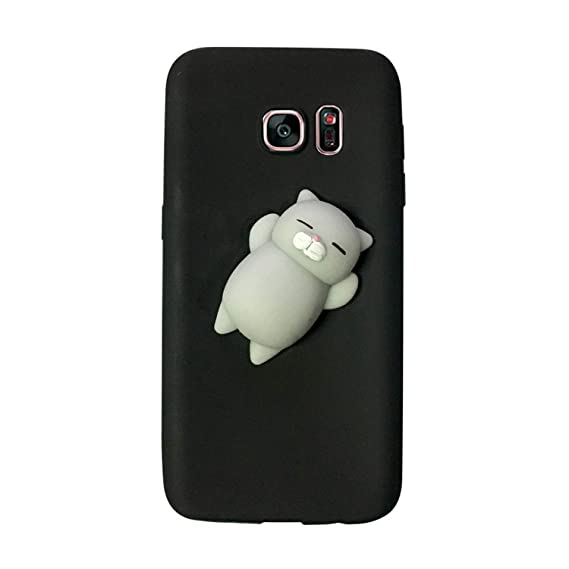 sale retailer 64503 604d4 Amazon.com: 3D Squishy Cute Cat Phone Case for Samsung Galaxy S9 S8 ...