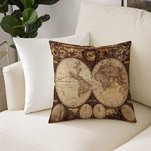 Square Cushion Cover,Wanderlust Decor,Old World Map Made in