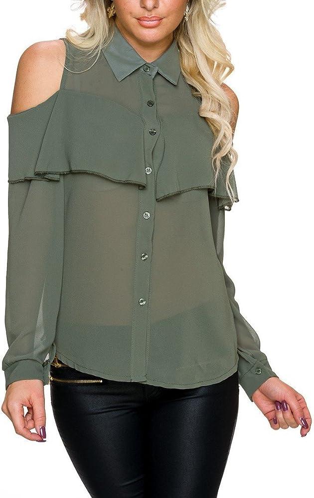 Moda Italy - Camisas - para Mujer Verde Oliva S/M: Amazon.es: Ropa y accesorios