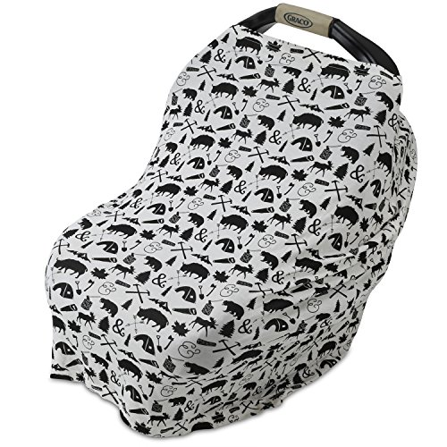 Benvax™ Ultra Soft, Comfortable, Breathable, Stretchy Multi-Use Nursing Cover and Baby Car Seat Cover, High Chair Cover, Grocery Cart Cover, Stroller Sunshade (Black & White Picture)