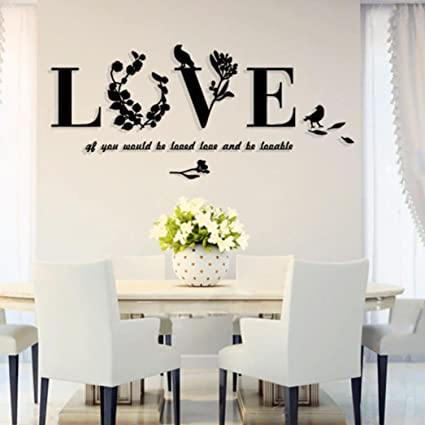 Love Heart Wall Sticker Living Room Removable Diy Home Decor Hotel Art Decal Modern 3d Wedding Bedroom Mirror Mural Wall Stickers Home & Garden