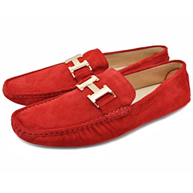 Mens Red Leather Slip-On Casual Buckle Loafer Driving Mens Car Shoes Moc Shoes (7.5 Red)