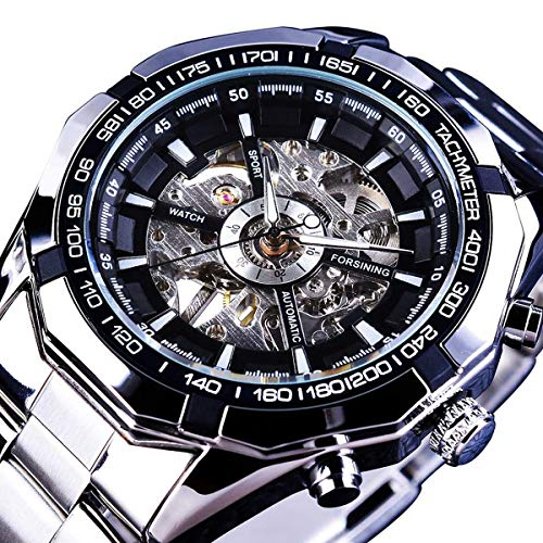 GuTe Classic Skeleton Mechanical Wristwatch Automatic Steel Watch Silver Black X Dial -