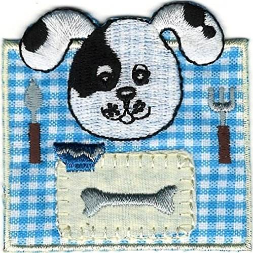 Embroidery Dalmatian (2pcs Dalmatian Blue Gingham Puppy Dog Bone Dinner Embroidery Patch)