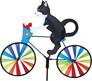 Kites Bike Wind Spinner for Outdoor Decor, Animal Pinwheels Yard Art Whirly Garden Stakes Decorations Lawn Ornaments Decorative Cat Statue Wind Sculpture Outdoor Windmills for Patio Backyard (1PCS, A)