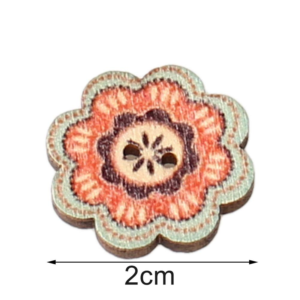 Mixed 2 Holes 2 cm Buttons Vintage Assorted Decorative Flower Buttons for DIY Sewing Craft HSAN 100 Pcs Wood Buttons