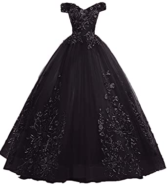 533dacb1f9d92 LEJY Women's Vintage Off The Shoulder Quinceanera Dresses Masquerade Prom  Ball Gowns 2019 Black 2