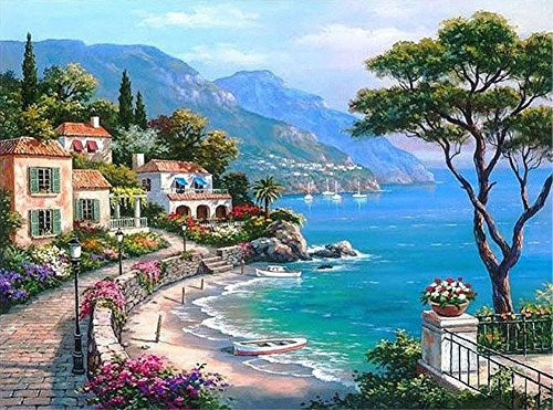 ABEUTY DIY Paint by Numbers for Adults Beginner - Mediterranean Seaside Villa Garden 16x20 inches Number Painting Anti Stress Toys (No Frame)