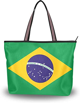 Brazil Flag Womens Fashion Large Shoulder Bag Handbag Tote Purse for Lady