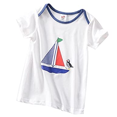 03b2a9d9a Dinlong Summer Toddler Kids Baby Boys Girls Clothes Short Sleeve Print Tops  T-Shirt Blouse
