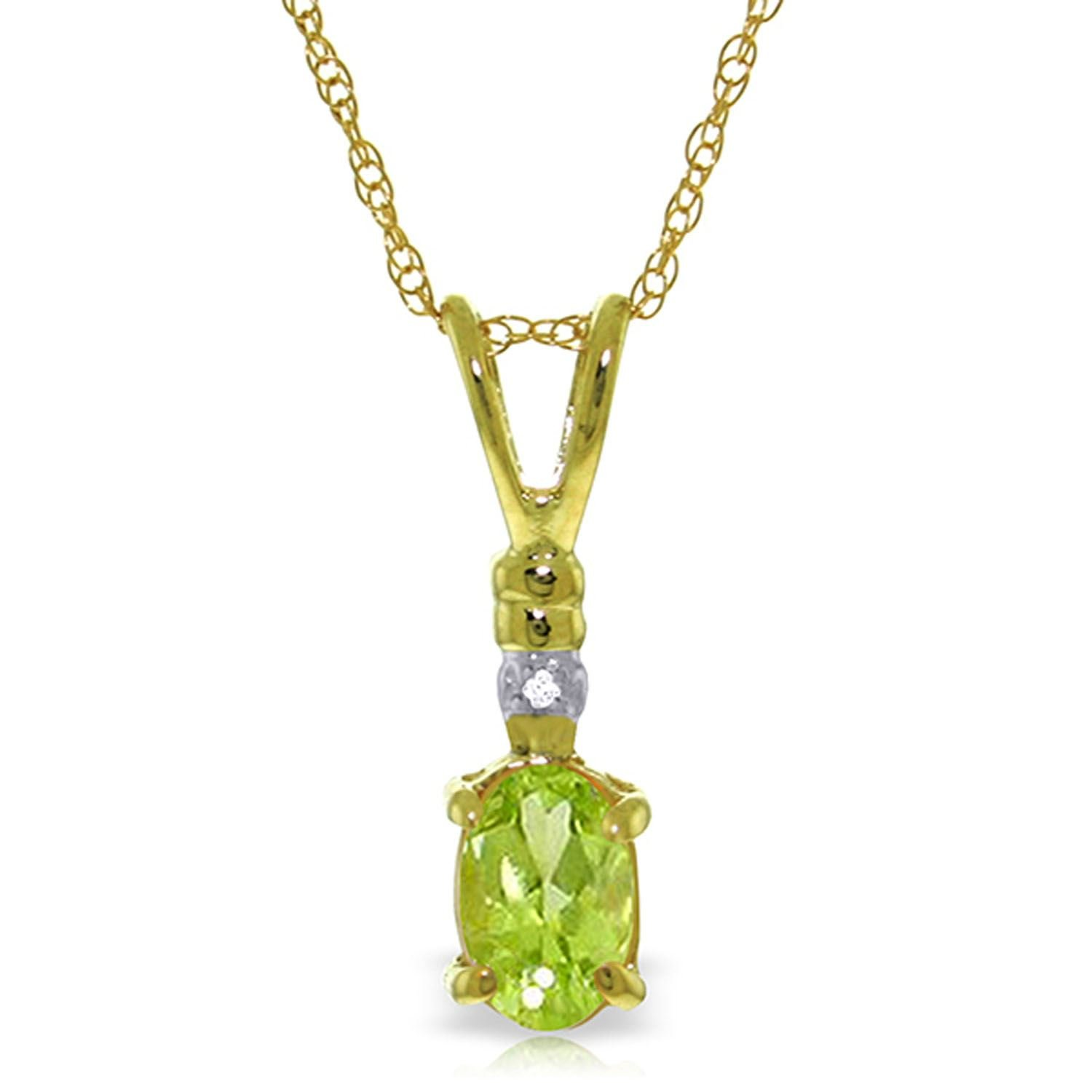 ALARRI 0.46 Carat 14K Solid Gold Love Murmur Peridot Diamond Necklace with 22 Inch Chain Length