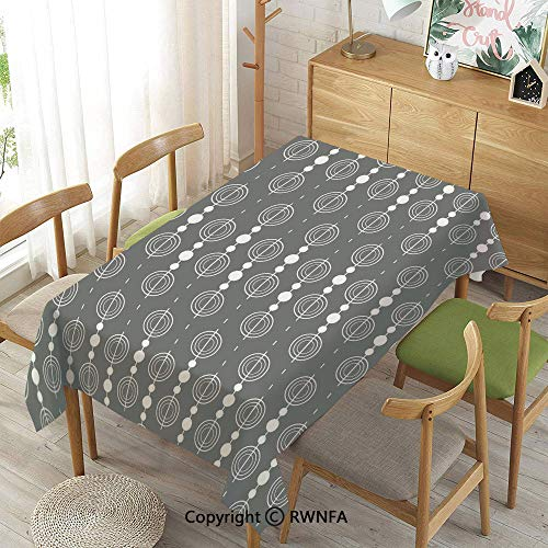 Wipe Clean Tablecloth for Rectangle Tables,Various Sized Geometric Circles Rounds Chained Spirals Retro Style in Mod Graphic Art Home Decorative,Indoor Outdoor Camping Picnic,Gray White,52