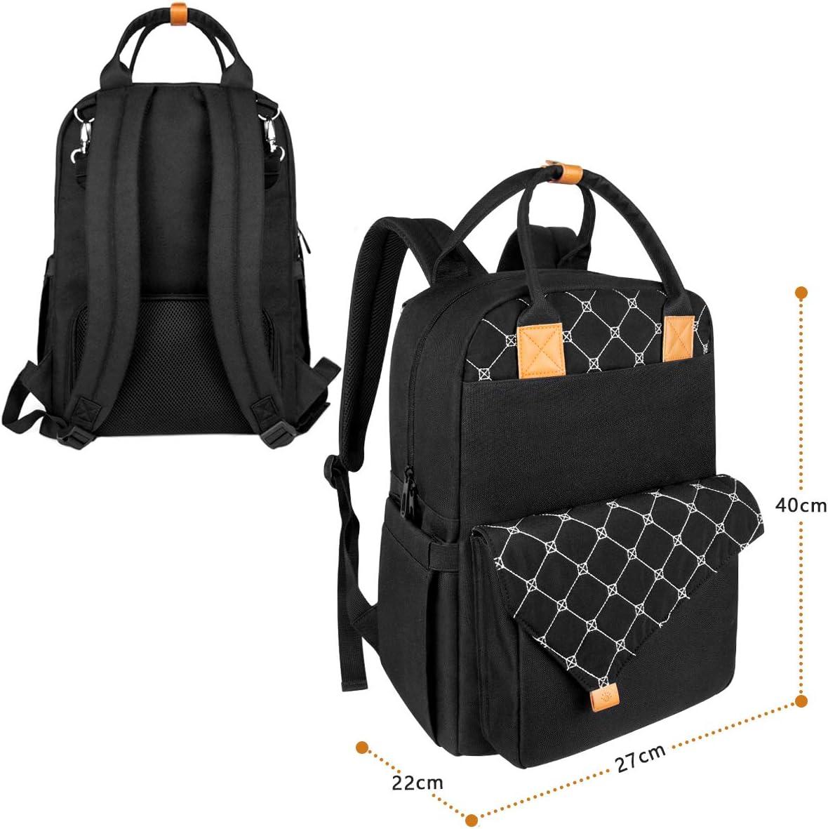 mochila grande para pa/ñales con 3 bolsillos aislados para botellas//correas para cochecitos//cambiador(EU5279griso oscuro) Mochila para cambiar pa/ñales para beb/és