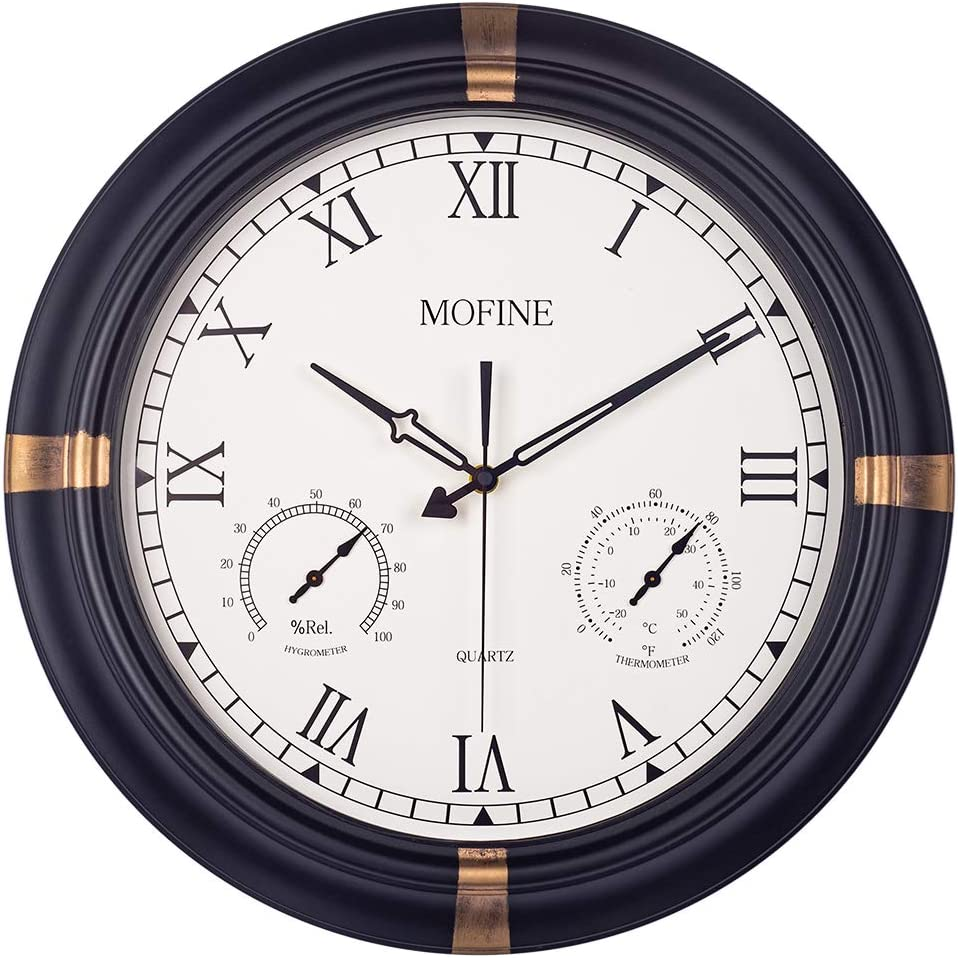 Mofine Waterproof Outdoor Clock, Metal Wall Clocks with Thermometer & Hygrometer Combo, Silent Battery Operated Decorative Large Clock for Garden/Patio/Pool/Fence, Roman Numerals, 18 in, Black Golden