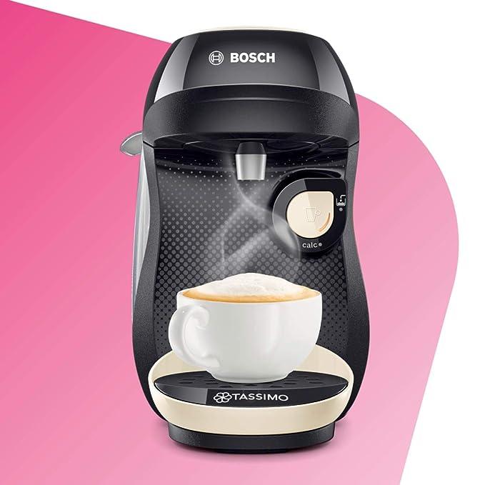 Bosch TAS1007 Tassimo Happy Cafetera Monodosis Multibebida, 1400 W, 0.7 litros, plástico, Vainilla/Negro