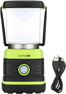 Consciot AOL002-US-V1 1000 Lumen Super Bright Lantern,Equal to 75W Halogen Bulbs Square Dimmable LED Camping Light, 4 Modes Daylight Warm White, Green
