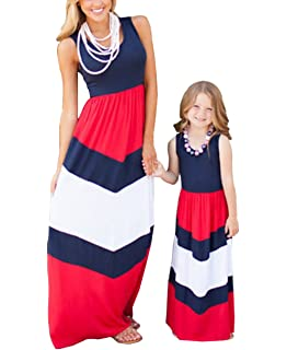 425390f42f43 Amazon.com: Mommy and Me Fashion Floral Print Sleeveless Dress Beach ...