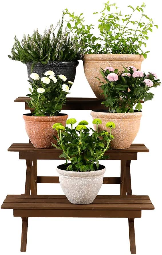 Worth Garden 3-Tier Wooden Plant Stand Ladder Planter Holder Flower Pot Display Shelf for Home Patio Lawn Garden Balcony