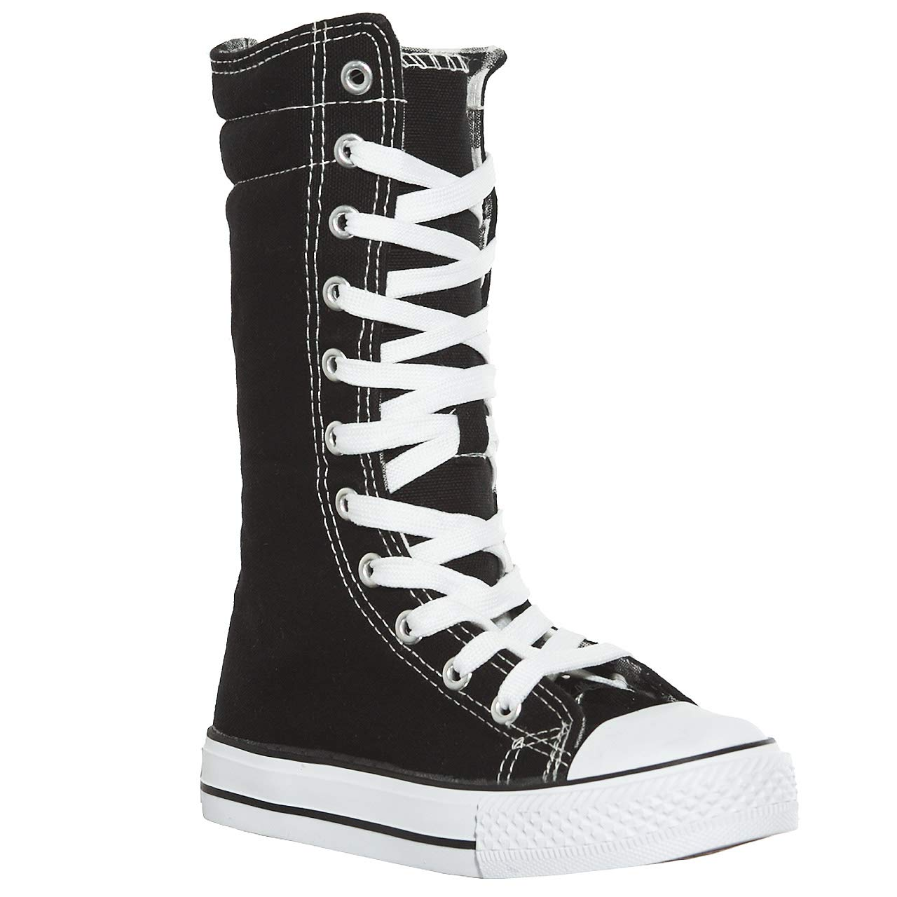 New Canvas Sneakers Flat Tall Punk Skate Shoes Lace up Knee High Boots for Kids(11, Black/White)[Apparel]