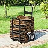 Earth Worth 83-DT5199 1900 Firewood Log Cart | Wood Mover-Hauler-Roller | Blac