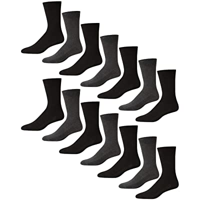 'Van Heusen Men's Stretch Comfort Solid Dress Socks With Reinforced Heel And Toe (14 Pack), Black/Grey, Size Shoe Size: 6-12.5' at Men's Clothing store