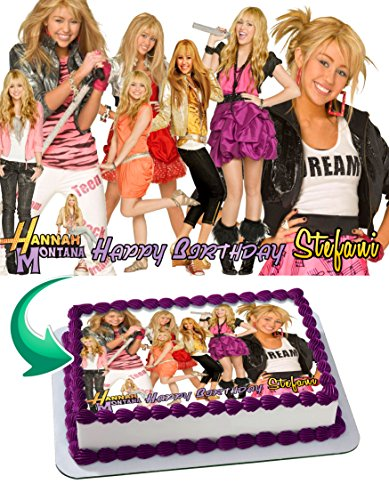 (Hannah Montana Birthday Cake Personalized Cake Toppers Edible Frosting Photo Icing Sugar Paper A4 Sheet 1/4 ~ Best Quality Edible Image for cake Miley cyrus)
