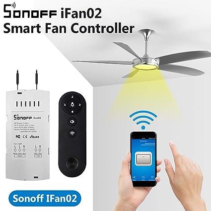 youmay Sonoff IFan02 Fan Smart Switch Convert Fan to WiFi Smart Control  Adjust Fan Speed Dimmer Controller Works with Light APP Remote Control