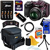 "Nikon COOLPIX L830 16 MP CMOS Digital Camera with 34x Zoom NIKKOR Lens, HD Video & Tiltable 3"" LCD - Plum (Import) + 4 AA Batteries with Charger + 9pc Bundle 16GB Accessory Kit w/ HeroFiber® Ultra Gentle Cleaning Cloth"