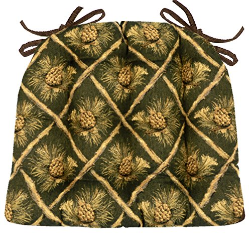 - Barnett Products Wilderness Pine Cones Green Dining Chair Pad - Size Extra-Large - Latex Foam Fill Cushions - Rustic Lodge Decor (XL/Pinecones/Evergreen)
