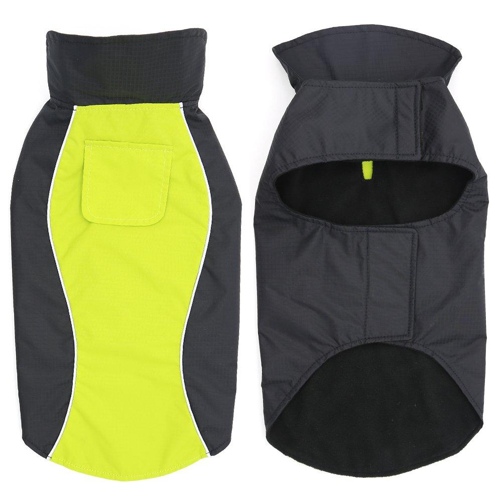 Medium, Green Vizbrite Dog Raincoat Waterproof Windproof Dog Jacket with Comfortable Fleece Reflective Line Dog Cloth Apparel for Small Medium Large Dogs