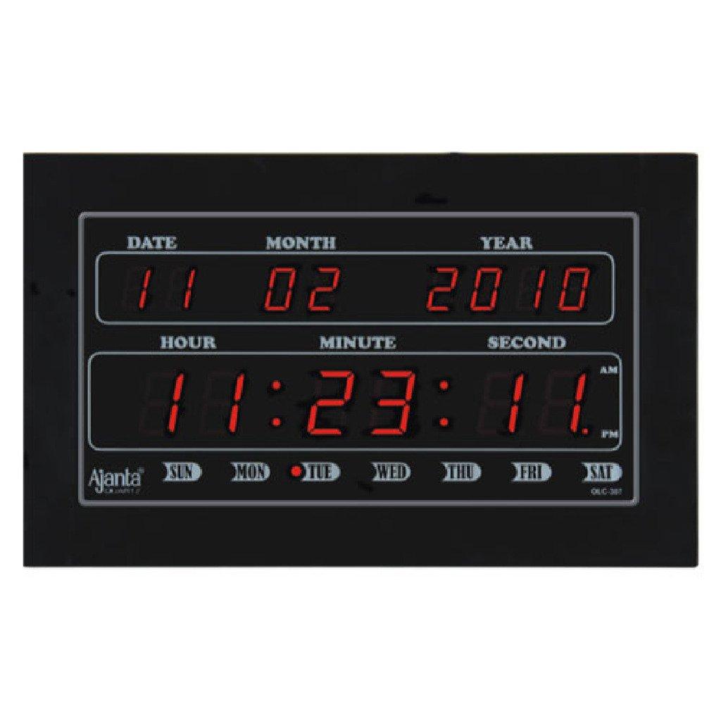 ajanta quartz digital led plastic wall clock 34 cm x 20 cm x 4 cm black