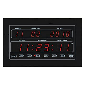 Buy Ajanta Quartz Digital LED Plastic Wall Clock 34 cm x 20 cm x
