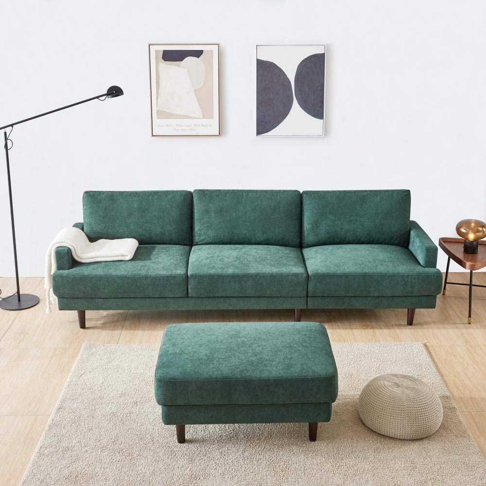 Modern Home Fabric Sofa L Shape 3 Seater with ottoman-104 for Living Room - Emerald