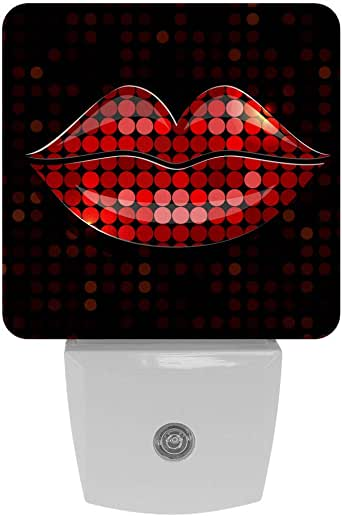 2 Pack Glass Icon Lips Night Lights Plug Into Wall With